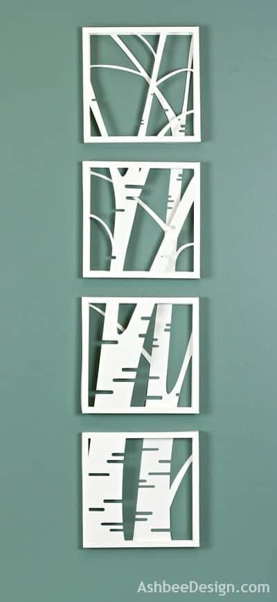 birch tree wall art in 4 panels