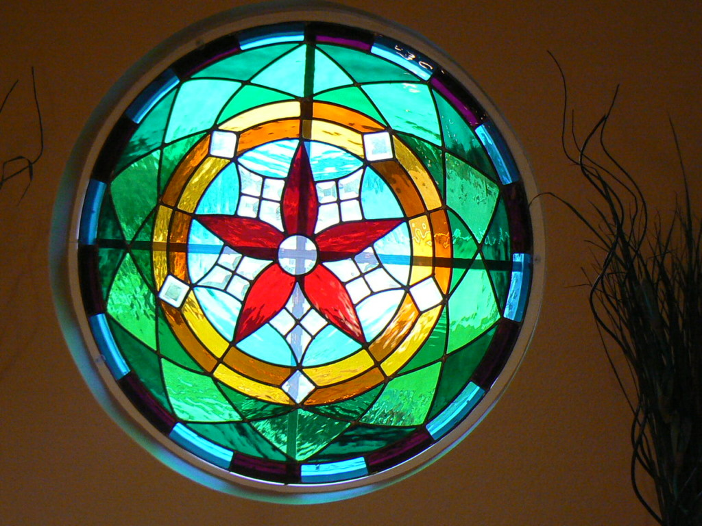 colourful round stained glass window