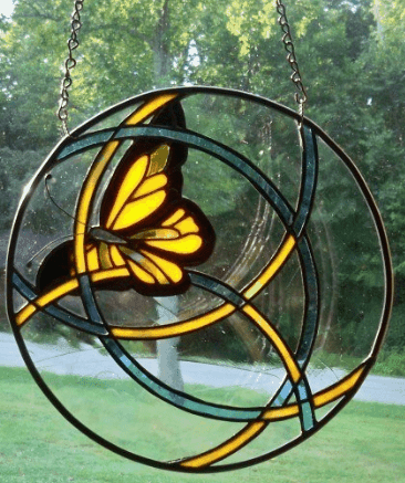 round butterfly stained glass