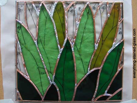 Soldering stained glass, reverse side