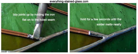 Making stained glass soldering neat using the hold and lift method