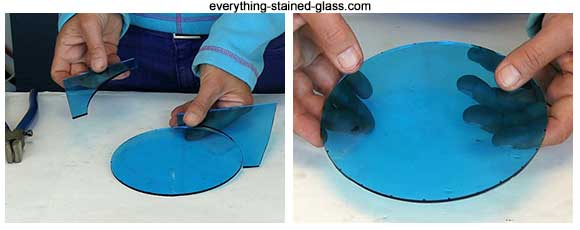 perfect blue glass circle cut with circle cutter