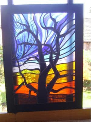 Stained Glass Winter Tree