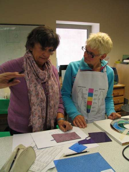 Milly Frances teaching stained glass