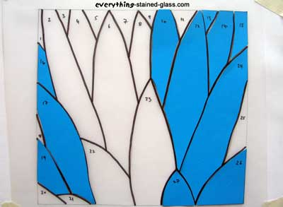blue stained glass template pieces on pattern
