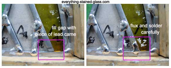 filling gap with tiny bit of lead came