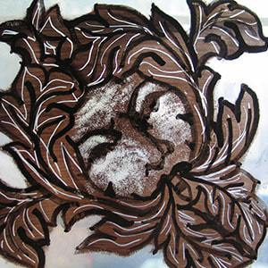stained glass painting of green man