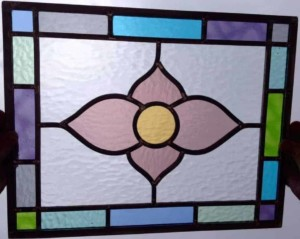 leaded stained glass panel from course