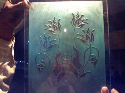 Silkscreened white glass