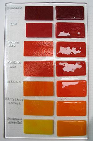 orange and red bullseye fusible art glass