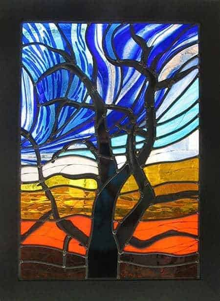 winter stained glass trees