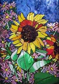 sunflower glass mosaic