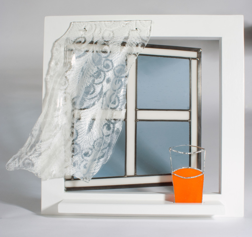 white stained glass window with orange juice