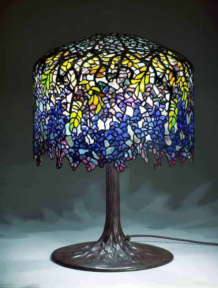 Blue And Yellow Stained Gl Lamp