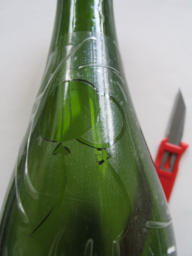 Bottle using contact paper as stencil