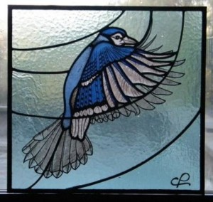 Costanza's Blue Jay Stained Glass Panel