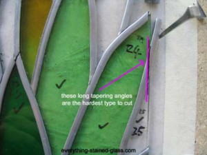 leaded panel with difficult angle of lead to cut