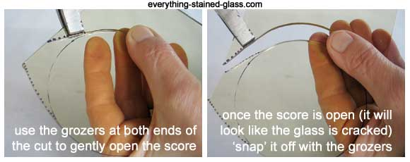 grozers for snapping glass circle