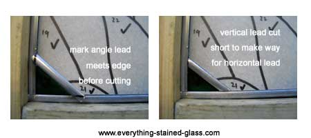 showing how to lead first piece of glass into stained glass panel