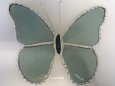 stained glass butterfly with decorative solder