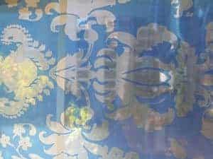 blue wallpaper screenprint