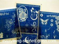 blue glass stencils