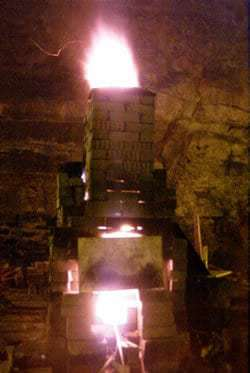 glass furnace in action