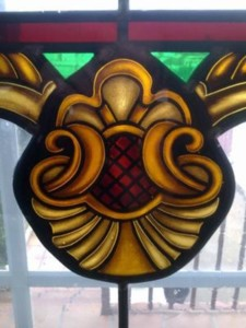Shaded patterns on yellow glass