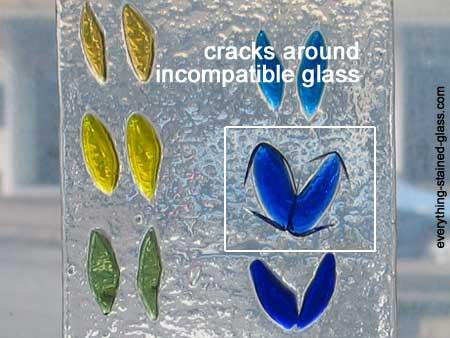 cracks showing incompatible blue glass