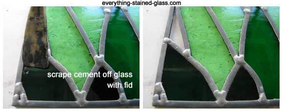 scraping stained glass clean with fid