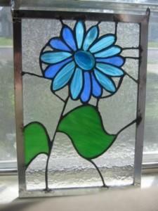 Blue glass flower