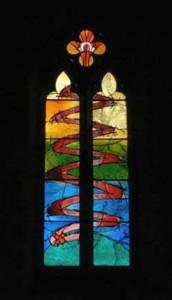 Symbolic Red Ribbon in window