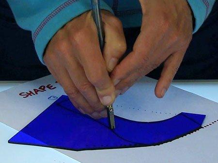 blue glass cutting on light box