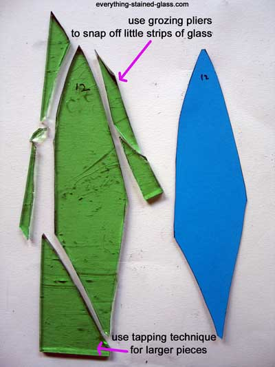 green glass shape with off-cuts