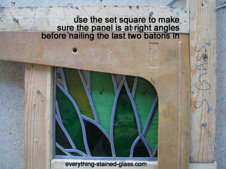 checking lead panel with set square