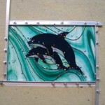 squared stained glass dolphin panel