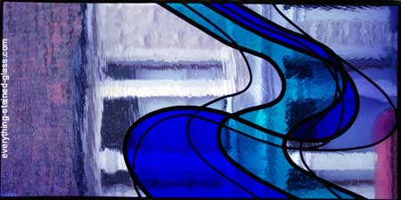 dark blue and light purple leaded stained glass