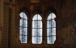 subtle blue patterned window