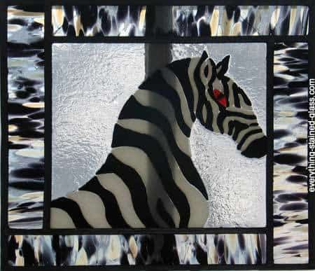 fused glass zebra with black and white border