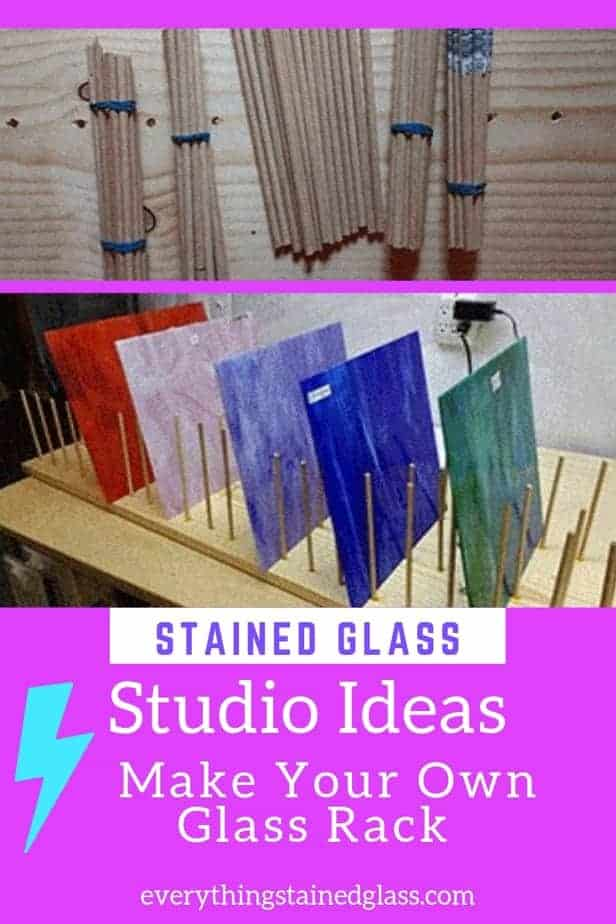 home made glass rack using dowel to store stained glass