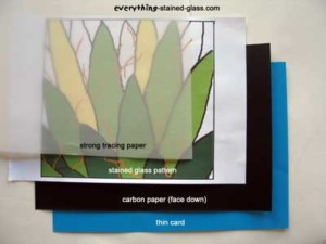 blue card, green cactus pattern with tracing and carbon paper