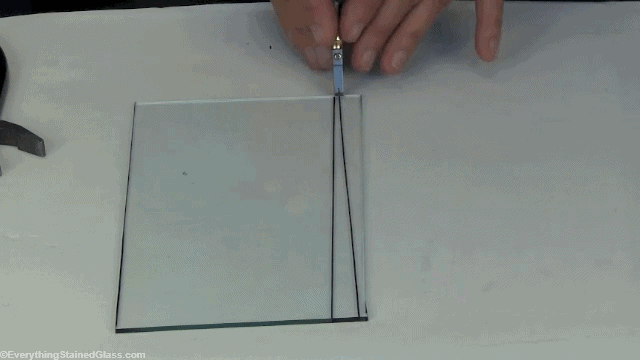 cutting stained glass on a narrow strip