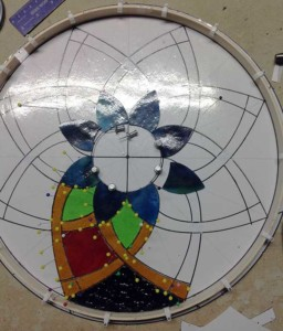 showing stained glass cutting technique