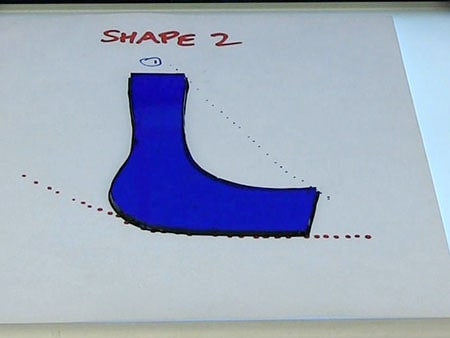 blue shape accurately cut on light box