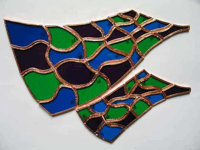 stained glass showing small copper foiled pieces