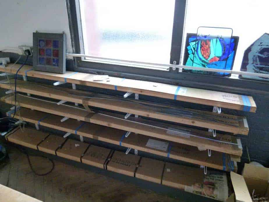 Lead Came storage using lead boxes on brackets