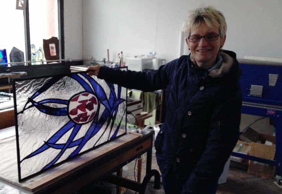stained glass tutor milly frances with student