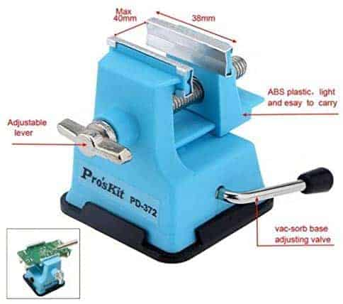 Blue table vise - alternative art glass tools for stained glass.