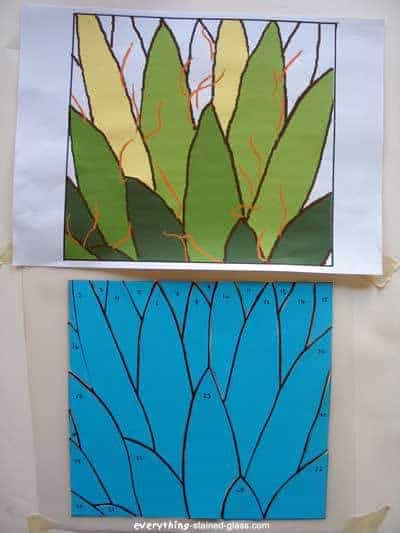 green cactus pattern with stained glass pattern piece in blue card