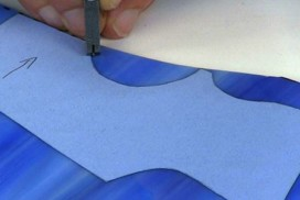 cutting blue glass with template